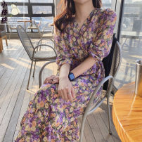 Dress Summer 2020 Picture color S,M,L,XL Mid length dress singleton  Long sleeves commute V-neck High waist Decor zipper A-line skirt puff sleeve 18-24 years old Type A Other / other Korean version Ruffle, stitching, zipper, print