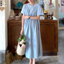 Dress Summer 2021 Blue, black S,M,L Mid length dress singleton  Short sleeve commute Crew neck middle-waisted Solid color zipper Big swing routine Others 18-24 years old Type H Other / other Korean version Pleated, zipper 9059# 31% (inclusive) - 50% (inclusive) brocade other