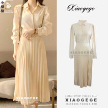 Dress Spring 2021 Apricot S,M,L,XL Mid length dress singleton  Long sleeves commute Polo collar High waist Solid color Socket Big swing shirt sleeve Others 25-29 years old Type A Other / other Korean version Bowknot, fold, asymmetry, strap, button, zipper other other