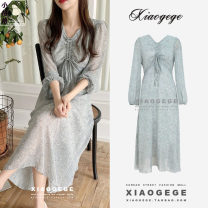 Dress Spring 2021 Picture color S,M,L,XL Mid length dress singleton  Long sleeves Sweet V-neck High waist Broken flowers zipper A-line skirt shirt sleeve Others 18-24 years old Type A Other / other Bow, tuck, zipper, print Chiffon other Countryside