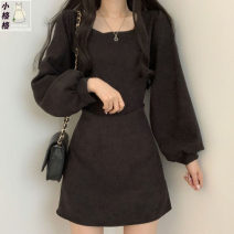 Dress Spring 2021 Khaki, black S,M,L,XL Short skirt singleton  Long sleeves commute square neck High waist Solid color zipper A-line skirt puff sleeve 18-24 years old Type A Korean version
