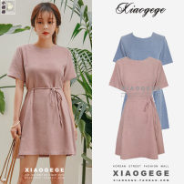Dress Summer 2021 Blue, pink S,M,L,XL Short skirt singleton  Short sleeve commute Crew neck High waist Solid color zipper other routine Others 18-24 years old Type H Korean version Bow, tie, zipper other
