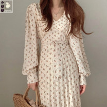 Dress Autumn 2020 Apricot, black S,M,L,XL Mid length dress singleton  Long sleeves commute V-neck High waist Decor zipper A-line skirt shirt sleeve 18-24 years old Type A Korean version Ruffles, lace up, print