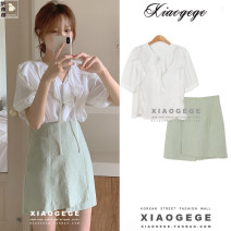 shirt White, fruit green S,M,L,XL Summer 2020 other 31% (inclusive) - 50% (inclusive) Short sleeve commute Regular Lotus leaf collar Frenulum puff sleeve Solid color 18-24 years old High waist type Korean version 3171# Lace, lace