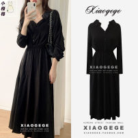 Dress Spring 2021 black S,M,L,XL Mid length dress singleton  Long sleeves commute V-neck High waist Solid color Single breasted Big swing routine Others 25-29 years old Type A Other / other Korean version Tuck, fold, button 2122# Chiffon other