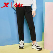 trousers XTEP / Tebu female 120cm 130cm 140cm 150cm 160cm 165cm black spring and autumn trousers leisure time Casual pants middle-waisted cotton Don't open the crotch Winter of 2018