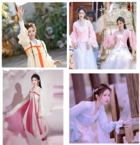 National costume / stage costume Winter 2020 White + light yellow, pink (Spring Festival Promotion), light blue (Spring Festival Promotion), yellow, white + Rose, white large sleeve, sky blue large sleeve, white + scarlet Flying wild geese 18-25 years old polyester fiber