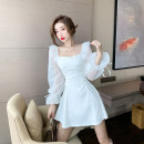Dress Autumn 2020 White, pink S,M,L Short skirt singleton  Long sleeves commute square neck High waist A-line skirt 18-24 years old Type H Other / other Korean version a9.6 30% and below