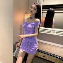 Dress Spring 2021 Violet, black S, M Short skirt singleton  Short sleeve commute One word collar High waist Solid color Socket One pace skirt camisole 18-24 years old Type H Other / other Korean version backless 30% and below brocade