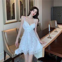 Dress Summer 2021 White, purple S,M,L Short skirt singleton  commute High waist Solid color Socket A-line skirt 18-24 years old Type A Korean version a4.13 31% (inclusive) - 50% (inclusive) other other