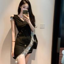 Dress Summer 2021 black S,M,L Short skirt singleton  Sleeveless commute V-neck 18-24 years old 31% (inclusive) - 50% (inclusive)