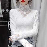 Lace / Chiffon Winter 2020 S,M,L,XL Long sleeves commute Socket singleton  Self cultivation Regular High collar Solid color routine 18-24 years old Other / other Lace Korean version 30% and below polyester fiber