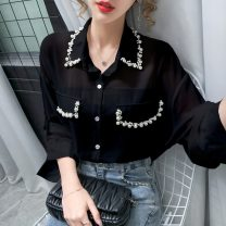 shirt White, black S,M,L,XL Autumn 2020 other 81% (inclusive) - 90% (inclusive) Long sleeves Versatile Regular Polo collar Single row multi button routine Solid color 18-24 years old Straight cylinder Nail bead Chiffon