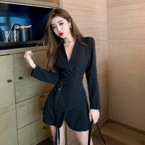 Dress Spring 2021 White, black S,M,L Short skirt Long sleeves commute tailored collar High waist Solid color double-breasted Irregular skirt routine Others 18-24 years old Type H Korean version Button a3.1 30% and below other polyester fiber