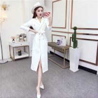 Dress Autumn 2020 White, black S,M,L singleton  Long sleeves commute High waist other double-breasted routine Others 18-24 years old Type A Korean version Frenulum eight point two six 30% and below polyester fiber