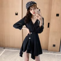 Dress Autumn of 2019 black S,M,L,XL Short skirt singleton  Nine point sleeve commute V-neck High waist Solid color Irregular skirt routine Others 18-24 years old Type A Other / other Korean version zipper ten point three zero 30% and below