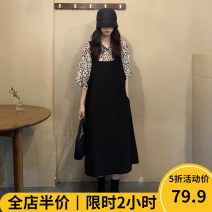 Women's large Autumn 2020 Black [pop / fat girl wear / tea break red / Hepburn / Europe / salt / sweet / big chest / little / sweet / temperament / spring and autumn tide] skirt Two piece set Sweet easy thickening Socket elbow sleeve Leopard print in solid color Polo collar routine puff sleeve