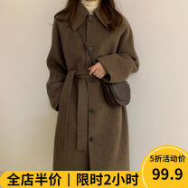 Women's large Winter 2020 woolen coat singleton  Sweet Straight cylinder thickening Cardigan Long sleeves other Medium length wool routine Beauty mark 18-24 years old Polyester 100% Pure e-commerce (online only) Single row two buttons solar system