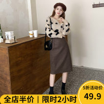 Women's large Winter 2020 Two piece set Sweet easy moderate Socket Long sleeves shape Crew neck routine routine 12-22C8797-XX Beauty mark 18-24 years old Medium length Polyester 100% Pure e-commerce (online only) other solar system