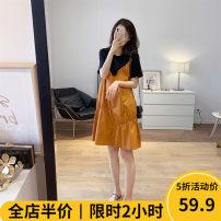 Women's large Summer 2021 Dress singleton  commute easy moderate Socket Short sleeve Solid color Korean version Crew neck 4-5CS0301 Beauty mark 18-24 years old Short skirt Cotton 100% Pure e-commerce (online only)