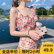Women's large Summer 2021 Pictures / colors [explosive money / chubby girl wear / tea break red / Hepburn / Europe / salt / sweet / big chest / little / sweet / temperament / spring and autumn tide] Dress singleton  commute Straight cylinder moderate Socket Sleeveless Decor Korean version V-neck