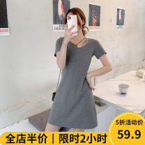 Women's large Spring 2021 Grey JH [explosive money / chubby girl wear / tea break net red / Hepburn / Europe / salt / sweet / big chest / small / sweet / temperament / spring and autumn tide] Dress singleton  commute moderate Socket Short sleeve shape Korean version other 4-6CS0236-XX Beauty mark