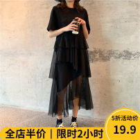 Women's large Spring of 2019 skirt singleton  Sweet easy thickening Socket Short sleeve other V-neck Three dimensional cutting puff sleeve Beauty mark 18-24 years old Gouhua hollow longuette Other polyester 95% 5% Pure e-commerce (online only) Irregular skirt shorts solar system