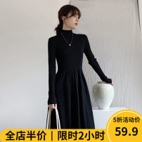 Women's large Winter 2020 Dress singleton  Sweet easy thickening Socket Long sleeves Solid color Crew neck routine 11-28C5102-2 Beauty mark 18-24 years old Medium length Polyester 42% viscose 40% polyamide 18% Pure e-commerce (online only) solar system