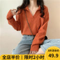 Women's large Spring 2021 Orange white apricot sweater singleton  Sweet easy moderate Socket Long sleeves V-neck routine routine 12-28CS0078- Beauty mark 18-24 years old pocket Viscose (viscose) 50% polyester 30% polyamide (nylon) 20% Pure e-commerce (online only) solar system