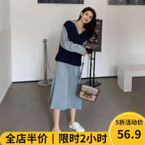 Women's large Autumn 2020 243 sweater KY 242 dress KY 243 sweater + 242 dress KY skirt Two piece set Sweet easy thickening Long sleeves Solid color square neck routine Beauty mark 18-24 years old longuette Polyester 95% polyurethane elastic fiber (spandex) 5% Pure e-commerce (online only)