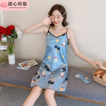 Nightdress Sweetheart times LR [9345] V-neck sling skirt coconut tree, LR [9342] V-neck sling skirt red peach heart, LR [9343] V-neck sling Skirt Blue Rabbit, LR [9344] V-neck sling skirt candy pineapple, LR [9346] V-neck sling Skirt Pink Pig 160(M),165(L),170(XL) sexy camisole pajamas Middle-skirt