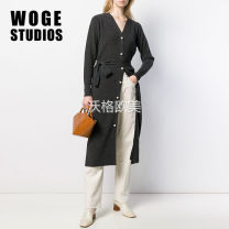 Dress Autumn of 2019 dark grey 36,38,40 Mid length dress singleton  Long sleeves commute V-neck Loose waist Solid color Single breasted other routine Others Type X Lace up, stitching, thread, button SFPRO00560 51% (inclusive) - 70% (inclusive) knitting wool