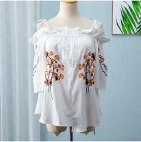T-shirt White, blue XS,S,M,L,XL Summer 2020 Short sleeve Crew neck easy Regular Sweet cotton 51% (inclusive) - 70% (inclusive) 18-24 years old Romantic Zishu Mori