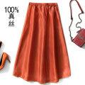 skirt Summer of 2019 Average size Red long, orange long, Zang blue long, light blue long, light yellow long, light orange long Mid length dress street High waist A-line skirt Solid color Type A 35-39 years old More than 95% silk Europe and America