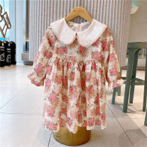 Dress Beige female Other / other 90cm,100cm,110cm,120cm,130cm,140cm Cotton 100% spring and autumn leisure time Long sleeves Broken flowers cotton A-line skirt AQ501 Class B 2 years old, 3 years old, 4 years old, 5 years old, 6 years old, 7 years old, 8 years old Chinese Mainland Zhejiang Province