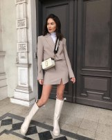 suit Spring 2021 Jacket, skirt XS,S,M,L Long sleeves have cash less than that is registered in the accounts Straight cylinder tailored collar Buckle Versatile routine Solid color 96% and above polyester fiber BBWM Asymmetry