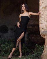 Dress Summer 2021 black XS,S,M,L Mid length dress singleton  Sleeveless street square neck High waist Solid color zipper camisole Type H NNWM WOMAN zipper More than 95% Europe and America