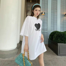 T-shirt White, black S,M,L Summer 2021 Short sleeve Crew neck easy Medium length routine street cotton 86% (inclusive) -95% (inclusive) 18-24 years old letter Europe and America