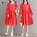 Women's large Spring 2020 gules XL (recommended 130-160 kg) 2XL (recommended 160-190 kg) 3XL (recommended 190-220 kg) Dress singleton  commute easy moderate Socket Long sleeves Solid color Retro Medium length cotton Three dimensional cutting LYQ9153 Yunzi pocket 96% and above Medium length