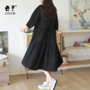 Women's large Summer 2020 black XL (recommended 130-160 kg) 2XL (recommended 160-190 kg) 3XL (recommended 190-220 kg) Dress singleton  commute easy moderate Socket three quarter sleeve Solid color Retro square neck Medium length cotton Three dimensional cutting other Yunzi pocket 96% and above