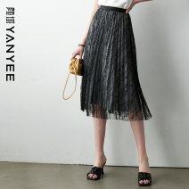 skirt Summer 2021 S M L XL black Mid length dress commute Natural waist A-line skirt Dot Type A 35-39 years old 71% (inclusive) - 80% (inclusive) Yan Yu nylon printing Retro