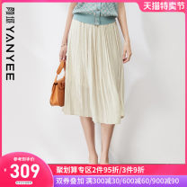 skirt Summer 2021 S M L XL XXL Apricot [l, XL pre-sale 04.20 s, m pre-sale 05.09] black [pre-sale 05.09] Mid length dress commute Natural waist A-line skirt Solid color Type A 35-39 years old 10S0I0601 More than 95% Yan Yu polyester fiber fold Ol style Polyester 100%
