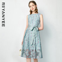 Dress Summer 2021 Blue flower [delivery within 30 days after pre-sale] S M L XL XXL Mid length dress singleton  Sleeveless commute Crew neck middle-waisted Decor Socket other routine Others 35-39 years old Type X Yan Yu Ol style 20S1I0154 More than 95% polyester fiber Polyester 100%