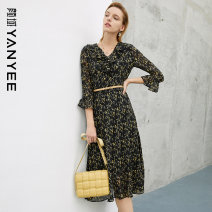 Dress Spring 2021 Black flower [pre-sale 04.28] S M L XL XXL Mid length dress singleton  three quarter sleeve commute V-neck middle-waisted Decor zipper other pagoda sleeve Others 35-39 years old Type X Yan Yu Ol style zipper 20P1I0347 More than 95% polyester fiber Polyester 100%