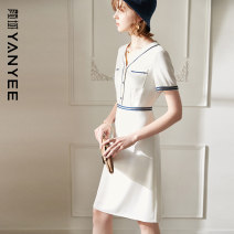 Dress Summer 2021 White black S M L XL XXL Middle-skirt singleton  Short sleeve commute V-neck High waist Solid color zipper other routine Others 35-39 years old Type H Yan Yu Ol style Button 81% (inclusive) - 90% (inclusive) polyester fiber
