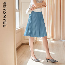 skirt Spring 2021 S M L XL XXL Blue [pre-sale 04.23] white [pre-sale 04.23] black 1 Middle-skirt commute Natural waist A-line skirt Solid color Type A 35-39 years old 10P0I0381 More than 95% Yan Yu polyester fiber fold Ol style Polyester 100%
