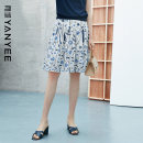 skirt Summer 2021 S M L XL XXL Blue flower [delivery within 30 days after pre-sale] Middle-skirt commute Natural waist A-line skirt Decor Type A 35-39 years old 10S1I0148 More than 95% Yan Yu polyester fiber zipper lady Polyester 100%