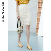 skirt Summer 2021 S M L XL XXL Light apricot [pre-sale 04] . 25】 Middle-skirt commute Natural waist other Solid color Type H 35-39 years old 10S1I0218 31% (inclusive) - 50% (inclusive) Yan Yu nylon lady
