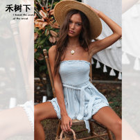 Casual pants White, blue grey S,M,L,XL Summer of 2019 shorts Jumpsuit High waist Sweet Thin money 18-24 years old fold Viscose Bohemia