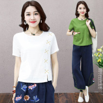 T-shirt M,L,XL,2XL Summer 2020 Short sleeve Crew neck easy Regular routine commute cotton 86% (inclusive) -95% (inclusive) 30-39 years old ethnic style literature Solid color Other / other Pocket, embroidery